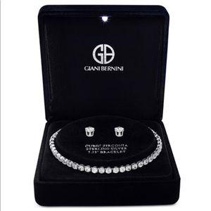 Cubic Zirconia Sterling Silver Bracelet & Earrings